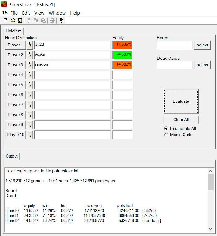 Pokerstove® Simulation Allinpusher