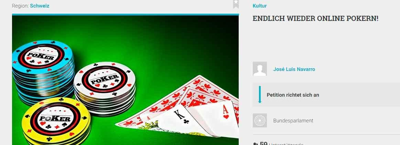 Schweizer Online Poker - Die Petition