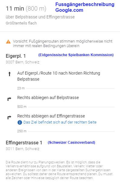 Reiseroute ESBK --> Schweizerischer Casinoverband
